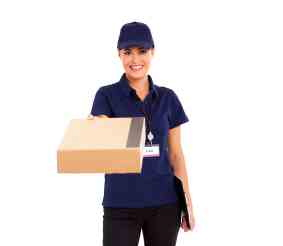 pretty female delivery worker delivering parcel